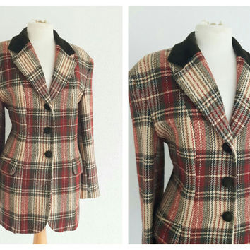 Vintage Plaid Wool Jacket - Tartan Hunters Blazer - Velvet Collar