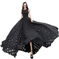 2016 New Women Summer Dress Elegant Ladies Vintage Black Organza Sleeveless Long Beach Maxi Dress Sundress Vestidos Femininos