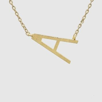 Side Slope Small Initial Necklace in Gold
