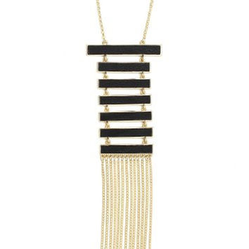 Black Leather Panels Long Chain Fringe Necklace Modern Geometric Luxury Statement NN00 Fashion Jewelry