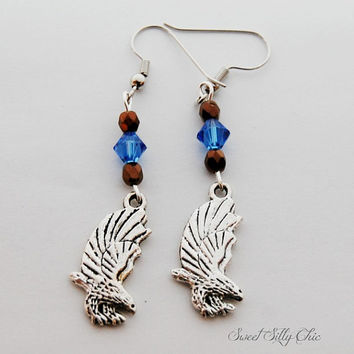 Ravenclaw Inspired Eagle Earrings, Blue Bronze Eagle Charm Earrings, Nickel Free, Harry Potter Jewelry, Hogwarts House Earrings