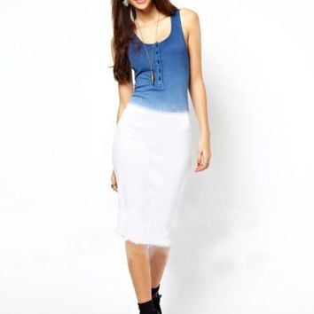 Ombre  Blue Sleeveless Stretch Vest Dress