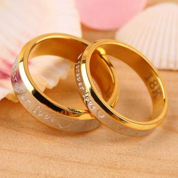 Stainless Steel Couple Rings For Women Men's Wedding Ring Color Plated Love Engraved Bridal Rings Sets Female Jewelry Alliance