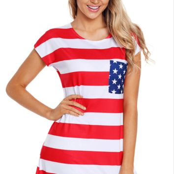 Fashion casual women's dress American flag striped round collar short sleeve pocket slim dress