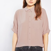 Dusty Pink Short Sleeve Roll Up Shirt | Topshop