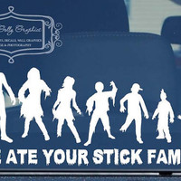 $10.00 Zombie stick family  vinyl vehicle decal by GoodGollyGraphics