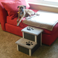 "Dog Steps, 15"" High, Wooden Dog Stairs, Dog Steps, Perfect for Small to Medium Size Dogs and Cats, Handbuilt, Custom Made Pet Steps, Dog Bed"