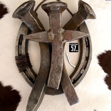 Horseshoe Railroad Spike Cross Metal Cross Railroad Spike Art Rustic Metal Cross Metal Crosses Rustic Christian Rustic Horseshoe Art RSC-062