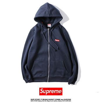 SUPREME embroidered small standard tied rope hooded cardigan zipper patch pocket long-sleeved straight sweater Dark blue