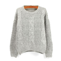 Grey Twisted Knit Casual Sweatshirt