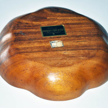 Vintage Handcrafted Bowl and Fruit, Monkey Pod Wood 12 Piece Fruit With Bowl, Leilani Handcrafted From Philippines