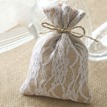 "Lace Burlap Gift Bags 10x15cm (4""x6"") Hessian Drawstring Pouches Rustic Wedding Party Favor Holders"