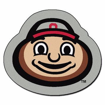 Ohio State Buckeyes Brutus Mascot Decorative Logo Cut Area Rug Floor Mat
