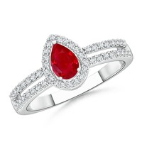 Solitaire Pear Ruby and Diamond Halo Twin Shank Ring