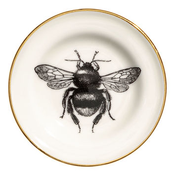 Small printed porcelain plate - White/Bee - Home All | H&M GB