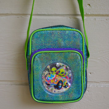 Vintage 1990s Alien Lisa Frank Purse Bag RARE Lisa Frank Collectible Neon Rainbow Aliens Bag