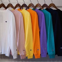 Champion L/S TEE 18SS Embroidery Small Logo Long sleeve T-shirt