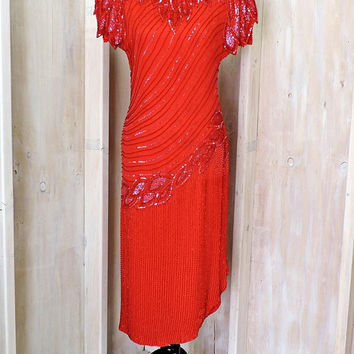 Stunning Red Beaded Dress / sequined silk designer / Roaring 20s style / Flapper / Cocktail / Party / Evening / Formal / Prom / size S 5 / 6