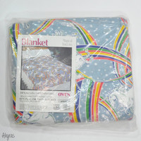 Vintage Unicorn Blanket • Rainbows • Bed Blanket • Vtg Bedding • Throw Blanket • Bedroom • Twin Full • Deadstock