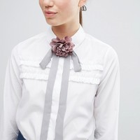 ASOS Grey & Pink Corsage Neck Tie at asos.com