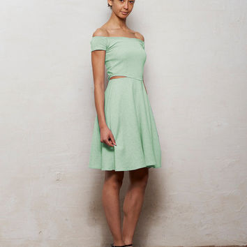 Minnie Off Shoulder Skater Dress with Cut Outs in Pastel Mint Green