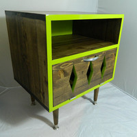 Mid Century Retro Inspired Nightstand Lime Zing
