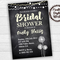 Bridal Shower Invitation Personalized Printable Dandelion String Lights Chalkboard Rustic Yellow Wedding Custom Country Romance Download
