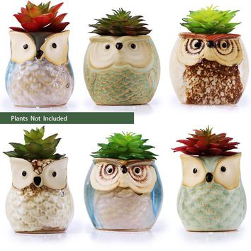 6 Pcs Mini Small Ceramic Owl Succulent Plant Pot Flower Planter Holder Cactus Planter Pot Flower Pot Container Planter
