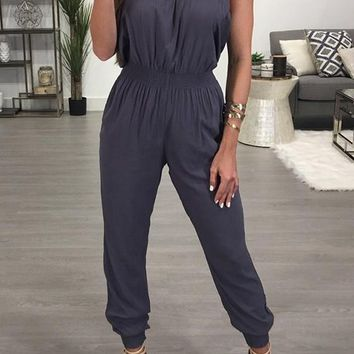 Grey Bandeau Off Shoulder Backless Casual Long Jumpsuit