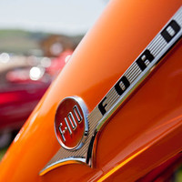 Orange Ford Classic Car Photograph, Bright & Colorful Car Show Art