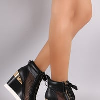 Net Black Wedge Sneaker