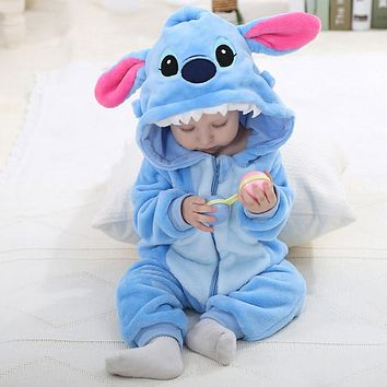 IDGIR Blue Stitch Cute Cartoon Baby Pajama Set Novelty Cotton Baby One-Pieces