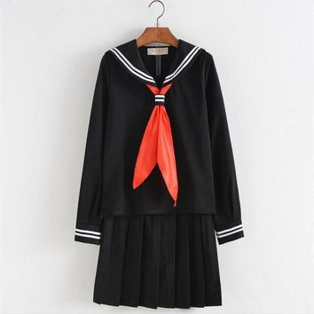 Fashion Autumn Winter Japanese Korean Girls School Uniform Plus Size S-XXXL Sailor Uniform Japanese Students OY-G1022