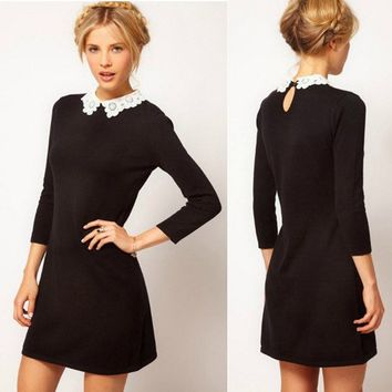 Black Dress with White Lace Collar