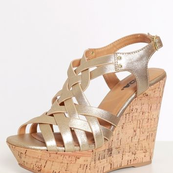 Braided Love Wedges Gold