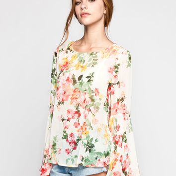MIMI CHICA Floral Print Womens Bell Sleeve Top 249367957 | Blouses & Shirts