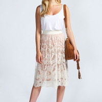 Mabel Embroidered Lace Midi Skirt