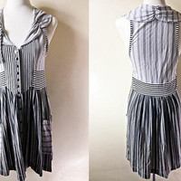 black and white striped dress (small to medium), sleeveless A line dress with stripes print