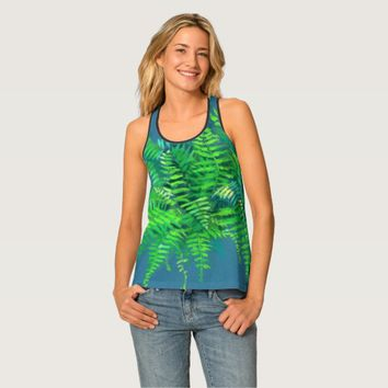 Fern leaves, floral design, greenery, blue & green tank top