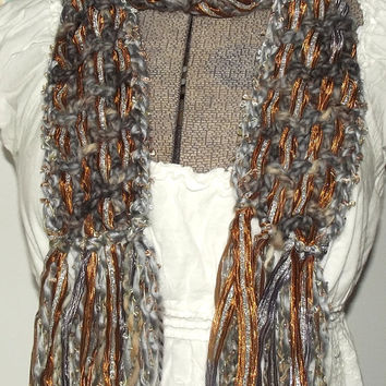 Handmade Crochet Scarf, Silver Gray, Copper, Lightweight, Woven, Metallic, Sari Silk Ribbon, Year Round Accessory
