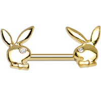 Licensed Clear Gem Gold Plated Gleaming Dual Playboy Bunny Nipple Ring | Body Candy Body Jewelry