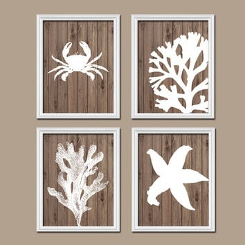 Bathroom Wall Art Canvas Artwork Nautical Coral Reef Ocean Sea Wood Grain Crab Lobster Starfish Set