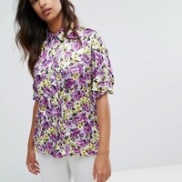 Warehouse Peony Pop Crinkle Shirt at asos.com