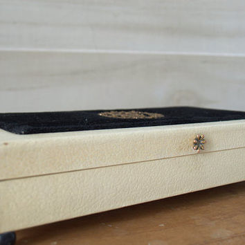 Vintage 1950s Jewelry Box, Black and Cream Cufflink Storage Box, Womens Earring Storage Box