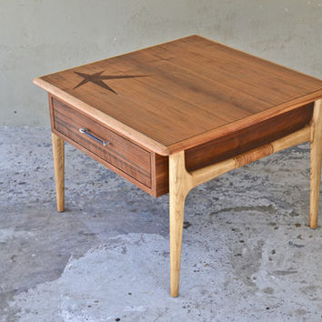 Large Walnut and Rosewood Side Table by Lane