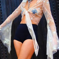 Supernova Sheer Stars & Moon Bell Sleeve Tie Top
