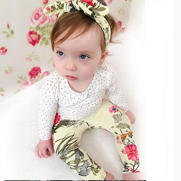 Baby girl clothes baby clothes set cotton long-sleeved T-shirt + flower trousers newborn girl clothes set
