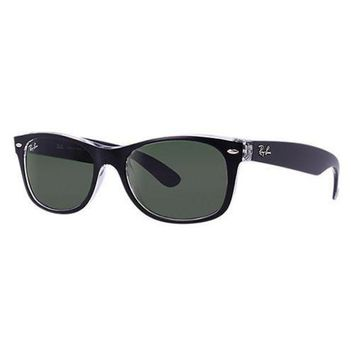 UCANUJ3V Ray Ban New Wayfarer Sunglass Top Black Transparent Green RB 2132 6052