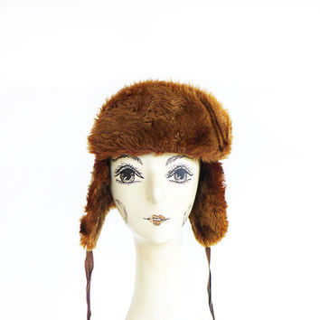 Ear Flap Hat, Vintage Winter Hat, Earflap Elmer Fudd Hat Lumberjack Trooper Hat Aviator Ushanka Hat with Ear flaps Trapper Hat with Flaps
