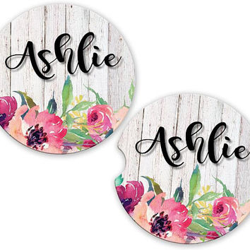 Floral Wood Car Cup Coaster, Personalized Monogrammed Cup Holder Coaster, Custom Auto Gift, Sandstone Coaster, gift for her flowers